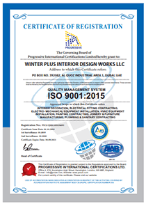 Winter Plus Designs Works - ISO Certification